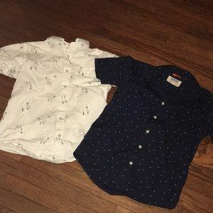 Lot/2 Boys Size L Summer Button Front Shirts Llama